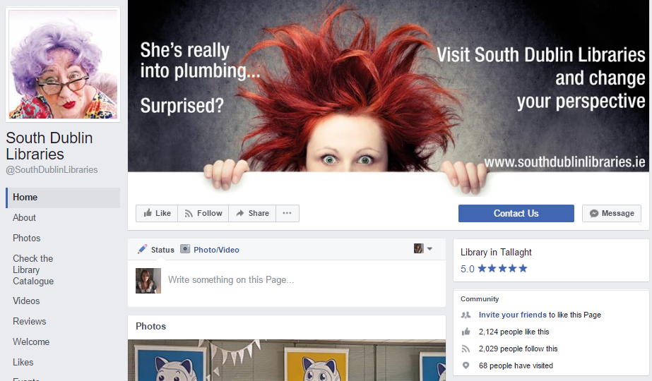 Use Facebook for marketing your library - Example of South Dublin Libraries Facebook Page