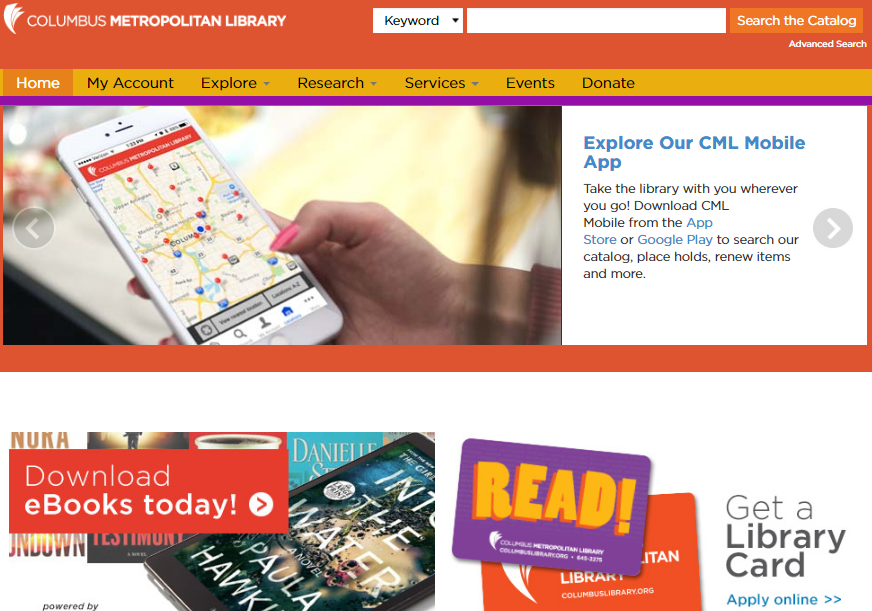 Columbus Metropolitan Library Website