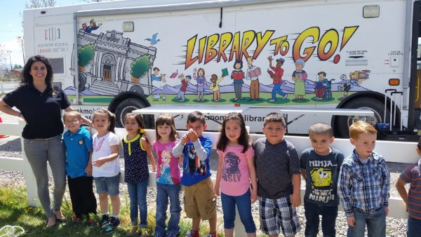 Montrose Kids In Front Of Bookmobile