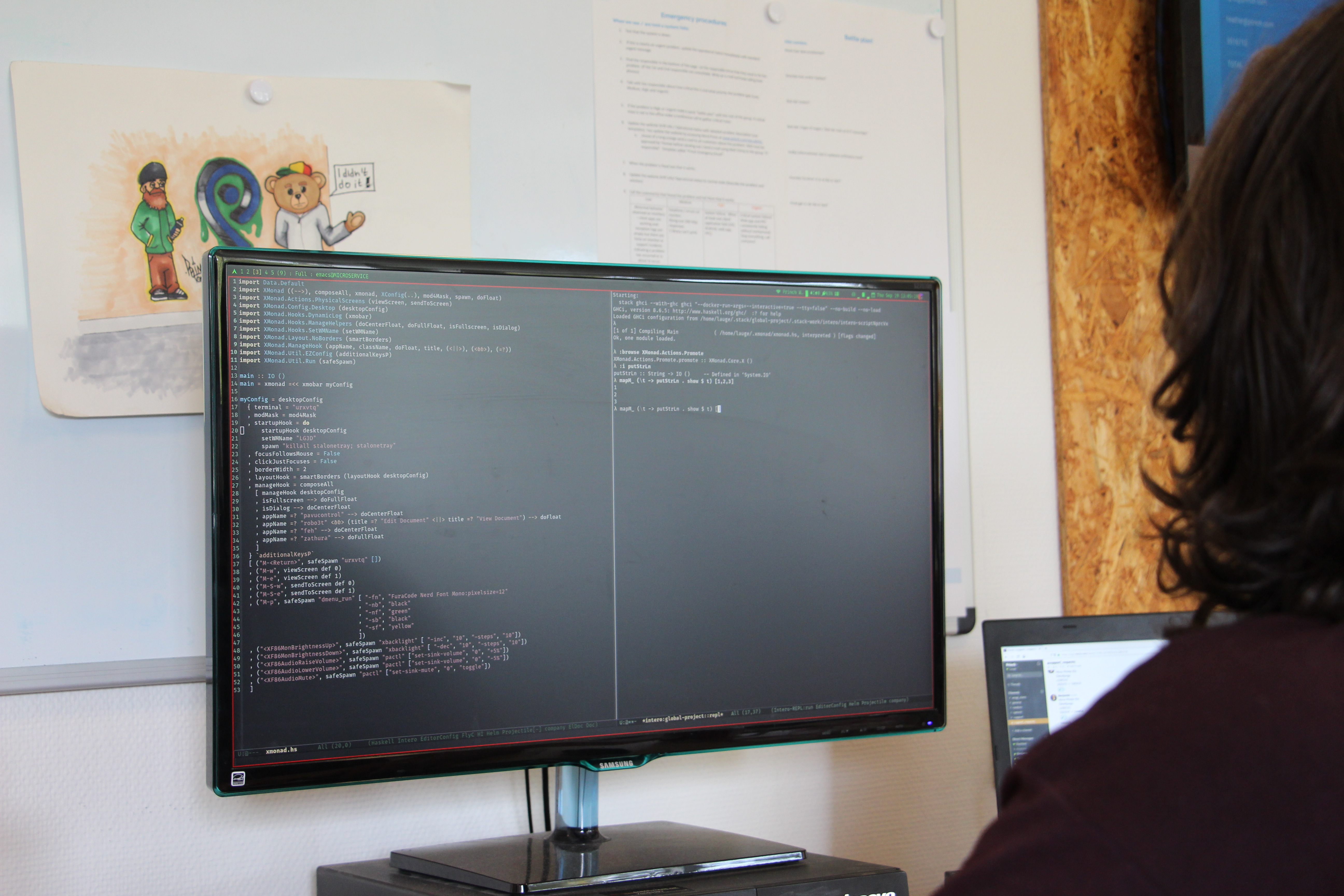 A team member coding